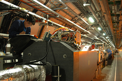 The LHCf experiment to study interactions of ultra-high-energy cosmic rays at the LHC.