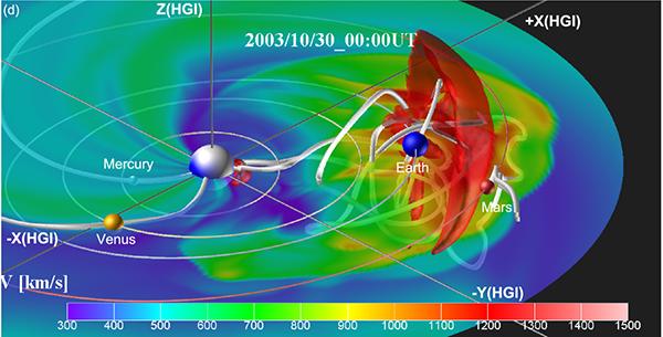 巨大太陽嵐が地球周辺を通過したときの磁力線と速度場の3次元描像