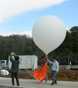 気球CO2ゾンデを打ち上げる様子