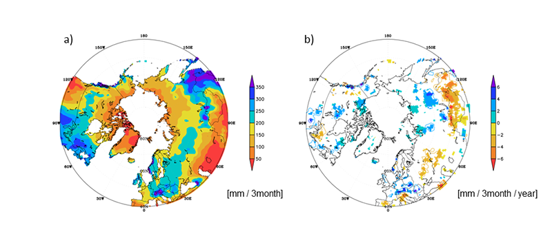 環北極域における夏季の降水量の気候値 1984年~2011年の夏季降水量の長期変化傾向